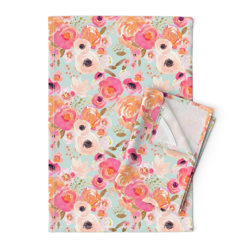 Orpington Tea Towels featuring INDY BLOOM BLUSH Florals BLUE B by indybloomdesign