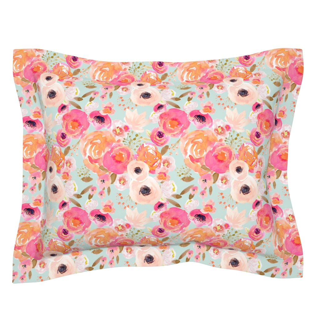 Sebright Pillow Sham featuring INDY BLOOM BLUSH Florals BLUE B by indybloomdesign