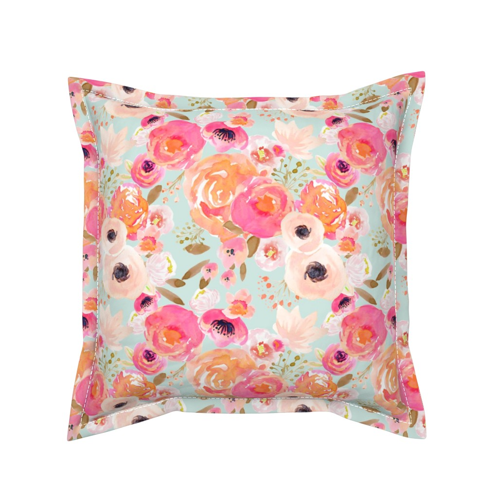 Serama Throw Pillow featuring INDY BLOOM BLUSH Florals BLUE B by indybloomdesign