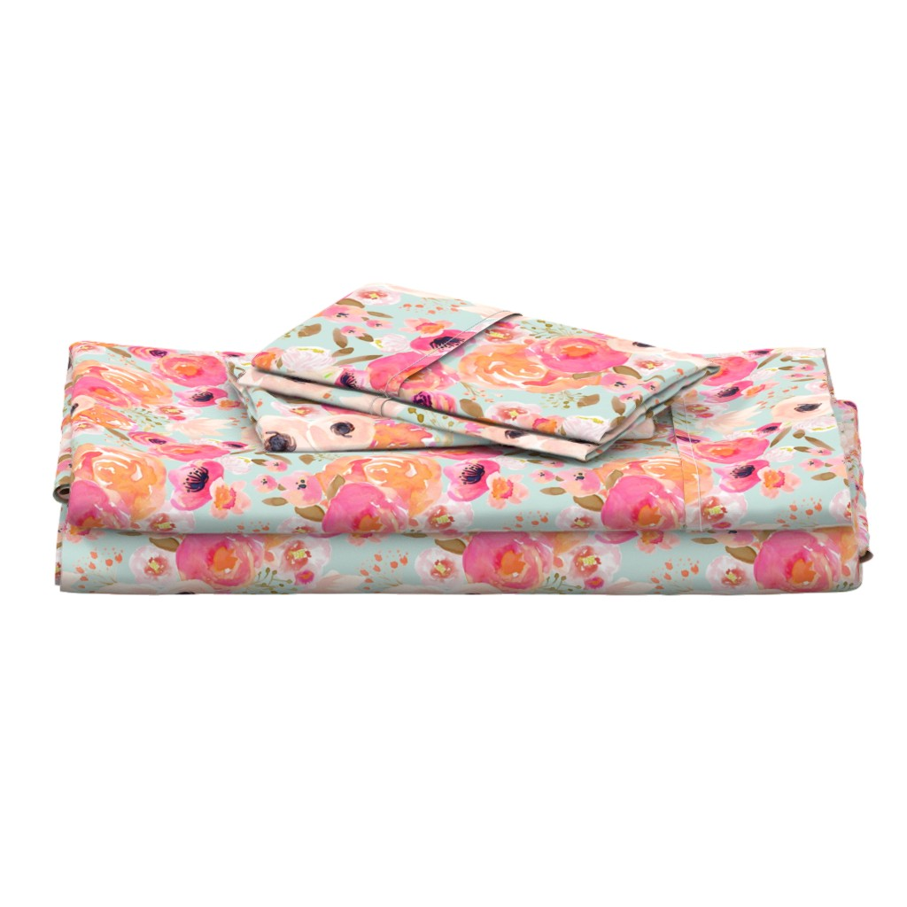 Langshan Full Bed Set featuring INDY BLOOM BLUSH Florals BLUE B by indybloomdesign