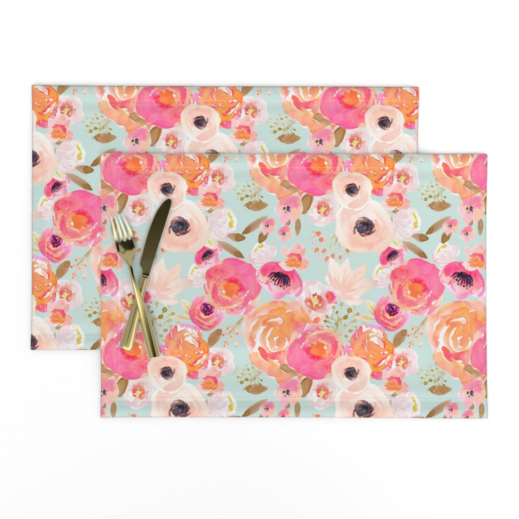 Lamona Cloth Placemats featuring INDY BLOOM BLUSH Florals BLUE B by indybloomdesign