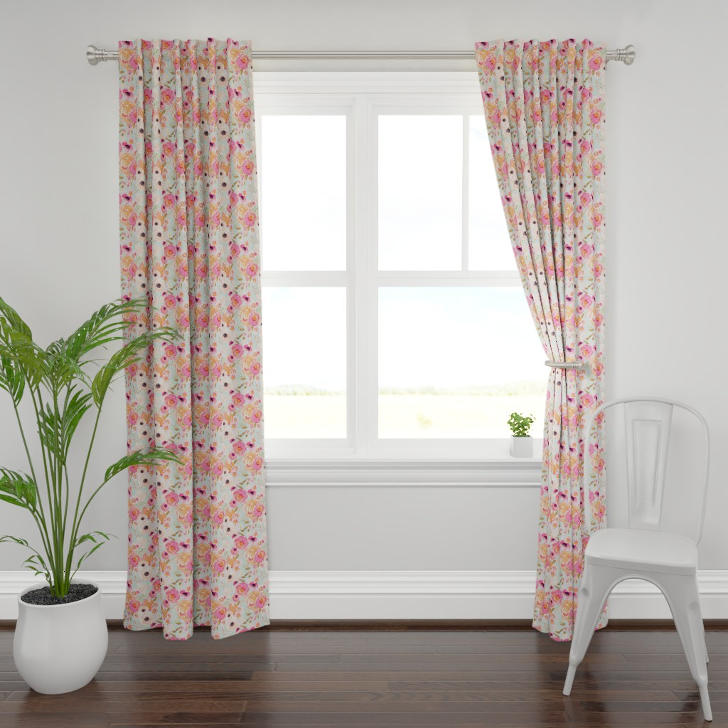 Plymouth Curtain Panel featuring INDY BLOOM BLUSH Florals BLUE B by indybloomdesign
