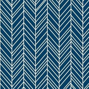 herringbone feathers navy blue