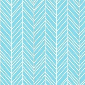 herringbone feathers sky blue