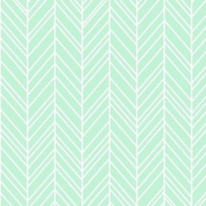herringbone feathers ice mint green