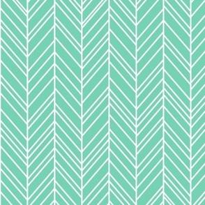 herringbone feathers sea foam green