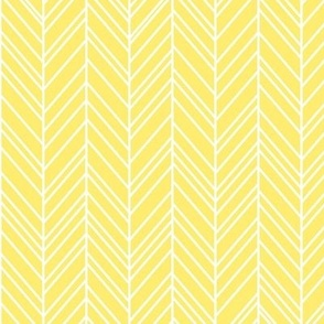herringbone feathers lemon yellow