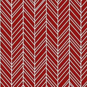 herringbone feathers dark red