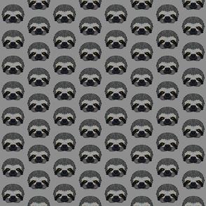 Grey Sloth Half-Drop Pattern