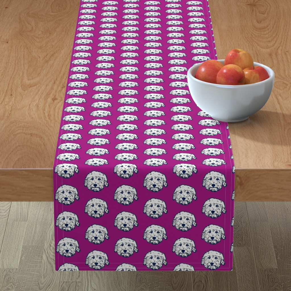 Minorca Table Runner featuring Goldendoodles - adorable doodle dogs in purple by cheekyhodgepodge