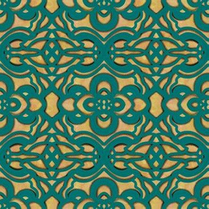 Teal Green Filigree on Rust Orange and Gold