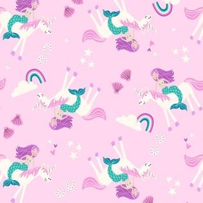 mermaid and unicorn pink