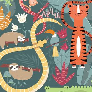 Rain forest animals pattern 002