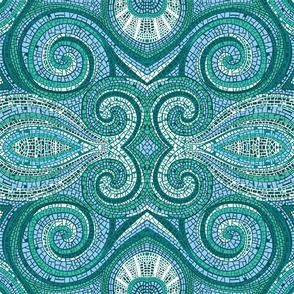 Mosaic Swirls | Blues + Greens