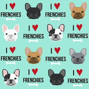frenchie dog fabric - i love french bulldogs fabric - frenchie face - aqua