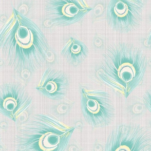 Peacock Bird Feathers watercolor pastel mint yellow on Linen Large_Miss Chiff Designs