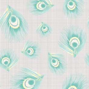 Watercolor Peacock Feathers Linen Texture  || Mint  Green Pastel yellow Purple on Taupe Gray grey  _Miss Chiff Designs
