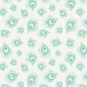 Bird Feathers Pastel Watercolor Linen Mint Yellow_Miss Chiff Designs