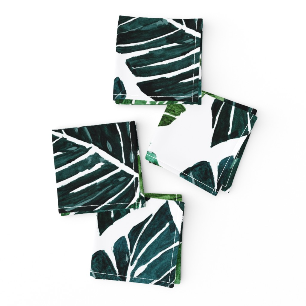 Frizzle Cocktail Napkins featuring Monstera Leaves by crystal_walen