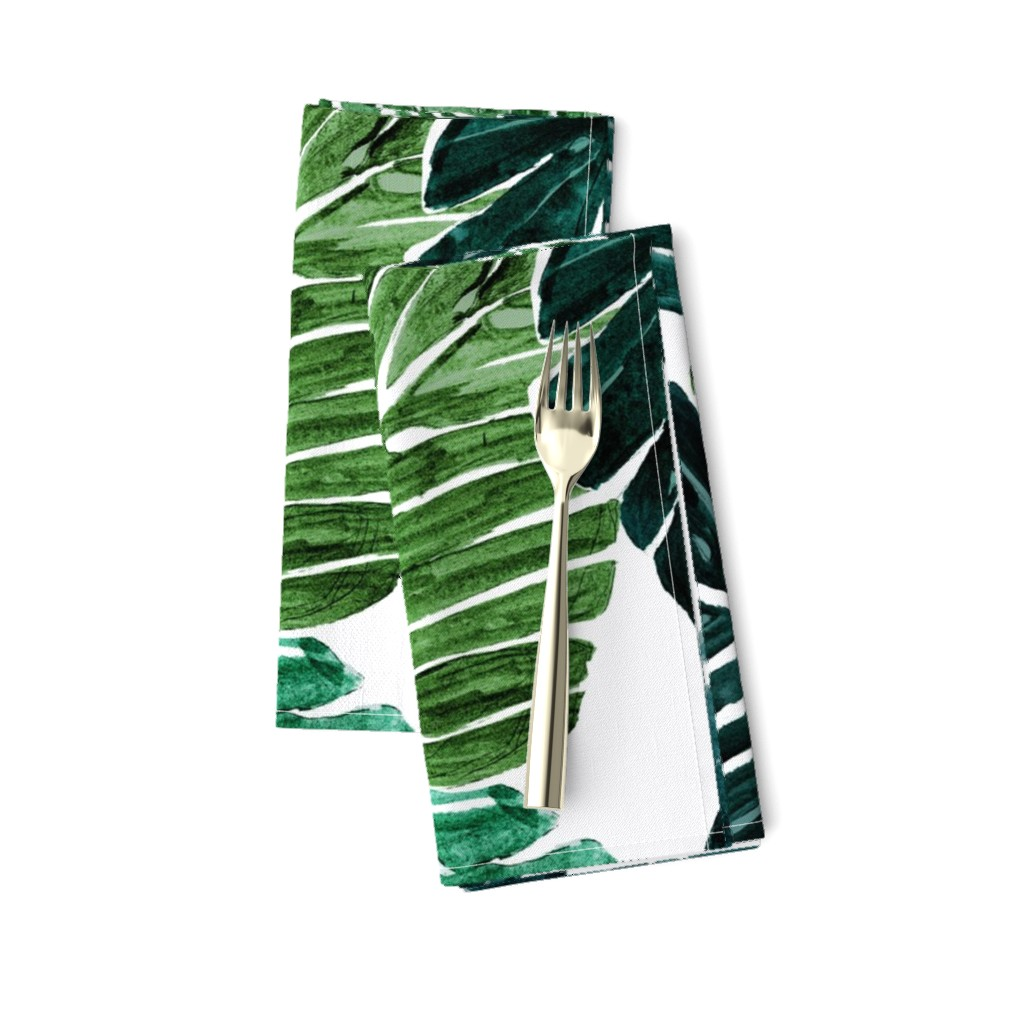 Amarela Dinner Napkins featuring Monstera Leaves by crystal_walen