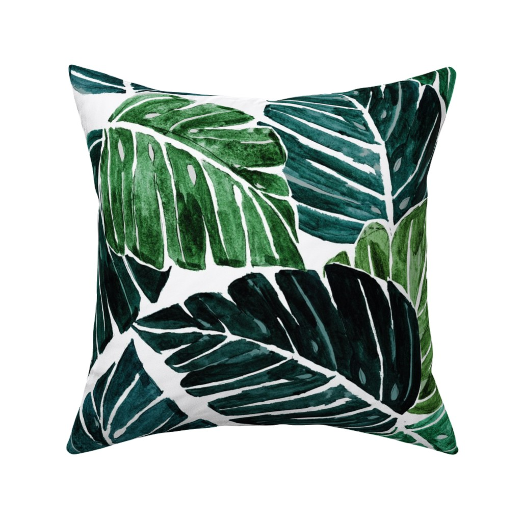 Catalan Throw Pillow featuring Monstera Leaves by crystal_walen