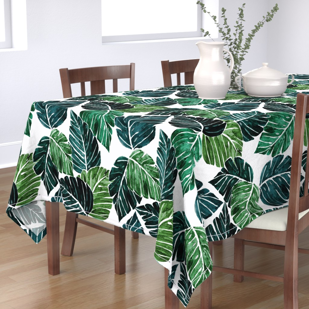 Bantam Rectangular Tablecloth featuring Monstera Leaves by crystal_walen