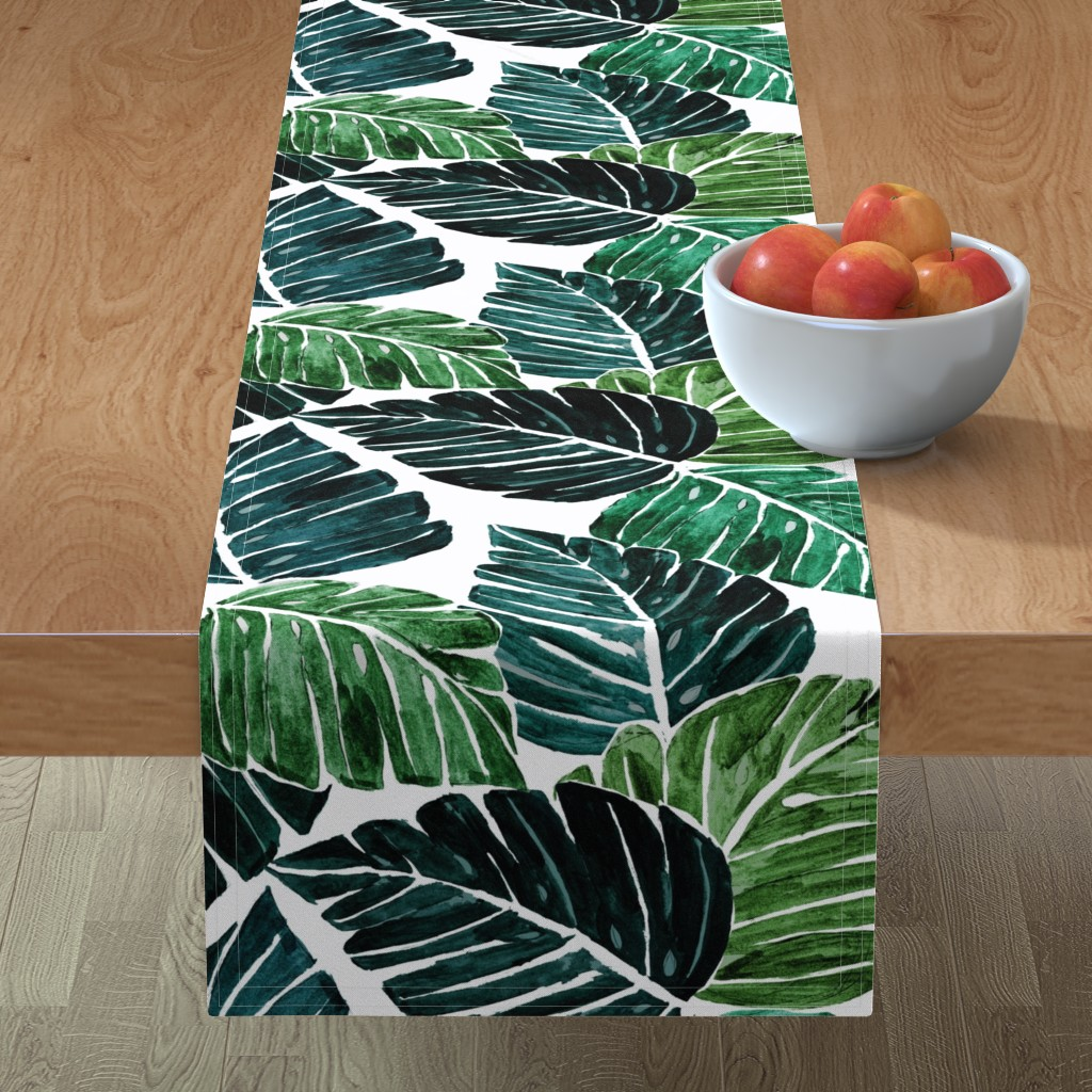 Minorca Table Runner featuring Monstera Leaves by crystal_walen