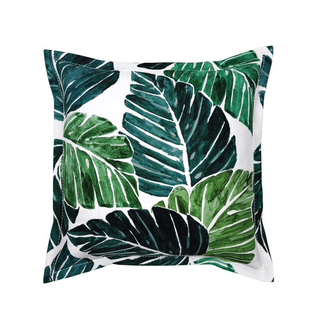 Serama Throw Pillow featuring Monstera Leaves by crystal_walen