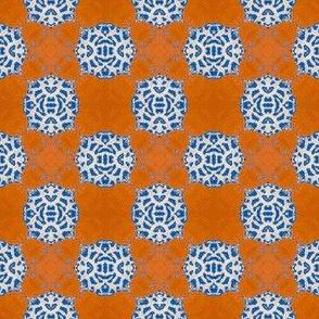 Persimmon  Lace Checkerboard