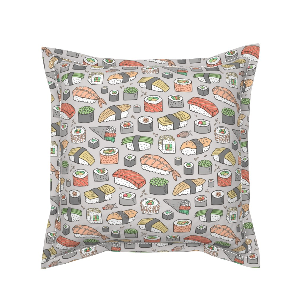 Serama Throw Pillow featuring Sushi on Light Grey by caja_design