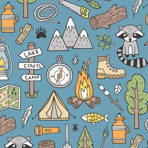 Outdoors Camping Woodland Doodle with Campfire, Raccoon, Mountains, Trees, Logs on Dark Blue Navy