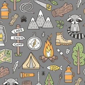 Outdoors Camping Woodland Doodle with Campfire, Raccoon, Mountains, Trees, Logs on Dark Grey