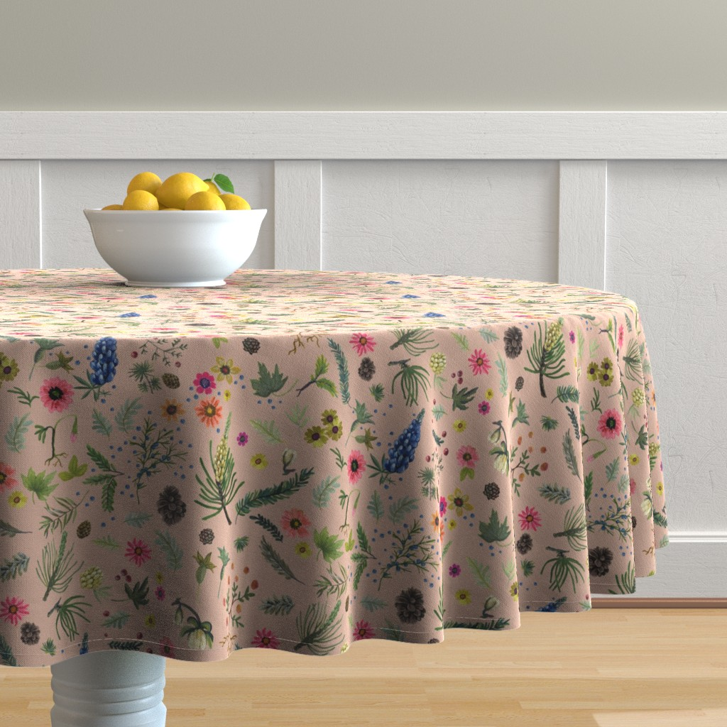 Malay Round Tablecloth featuring sierra print - putty revised by cinneworthington