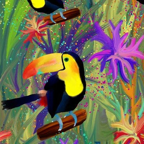 RAINFOREST TOUCAN BIRD EXOTIC FLOWERS JUNGLE