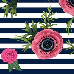 Navy stripe flowers // watercolor floral / nautical stripe