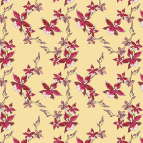 Red orchids on light tan