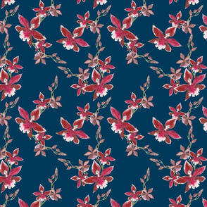 Red orchids on deep navy