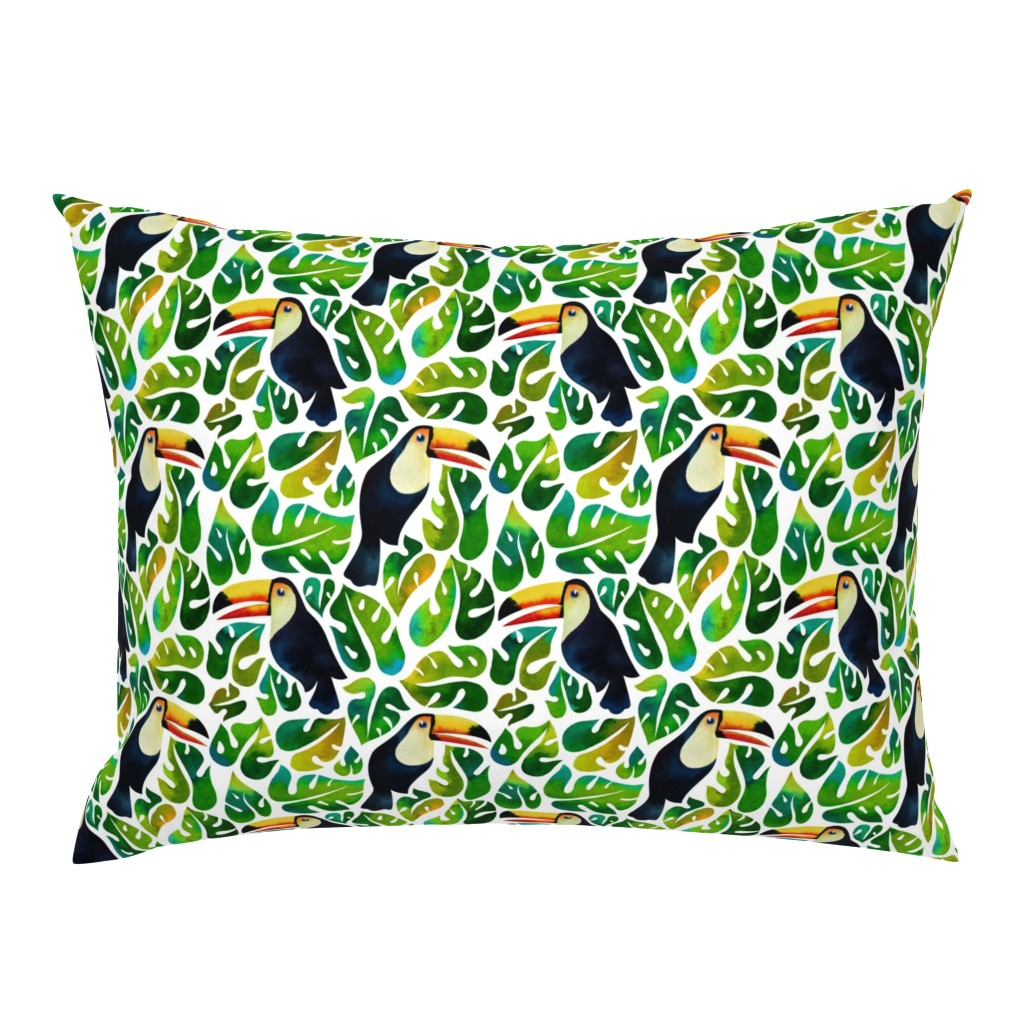 Campine Pillow Sham featuring Watercolor toucans with monstera leaves - white by mirabelleprint
