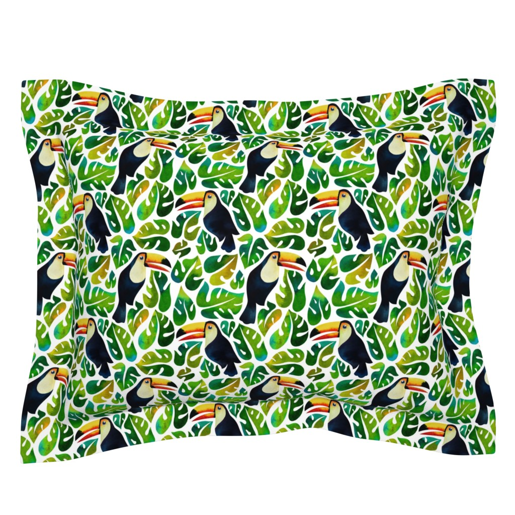 Sebright Pillow Sham featuring Watercolor toucans with monstera leaves - white by mirabelleprint
