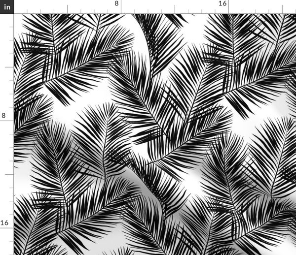 Fabric By The Yard Palm Leaves Black On White Small Silhuettes Tropical Forest Black White Hot Summer Palm Plant Tree Leaves Fabric Wallpaper