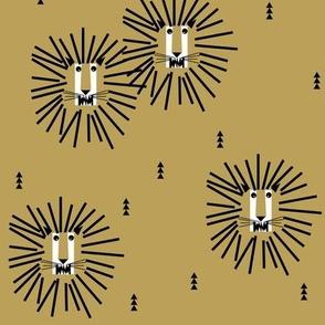 Lions - mustard lion head geomerptric safari