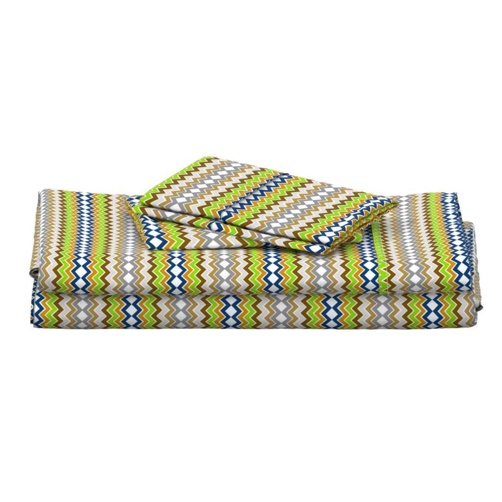 Langshan Full Bed Set featuring Arrows Chevron Small -spring pine bark by drapestudio