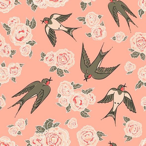 Swallows and peonies