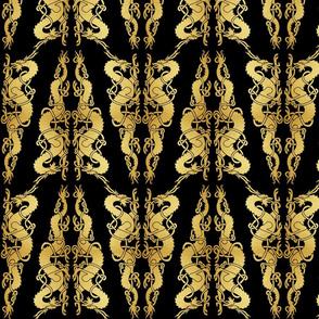 Celtic 2 Dragons Tile Gold on Black