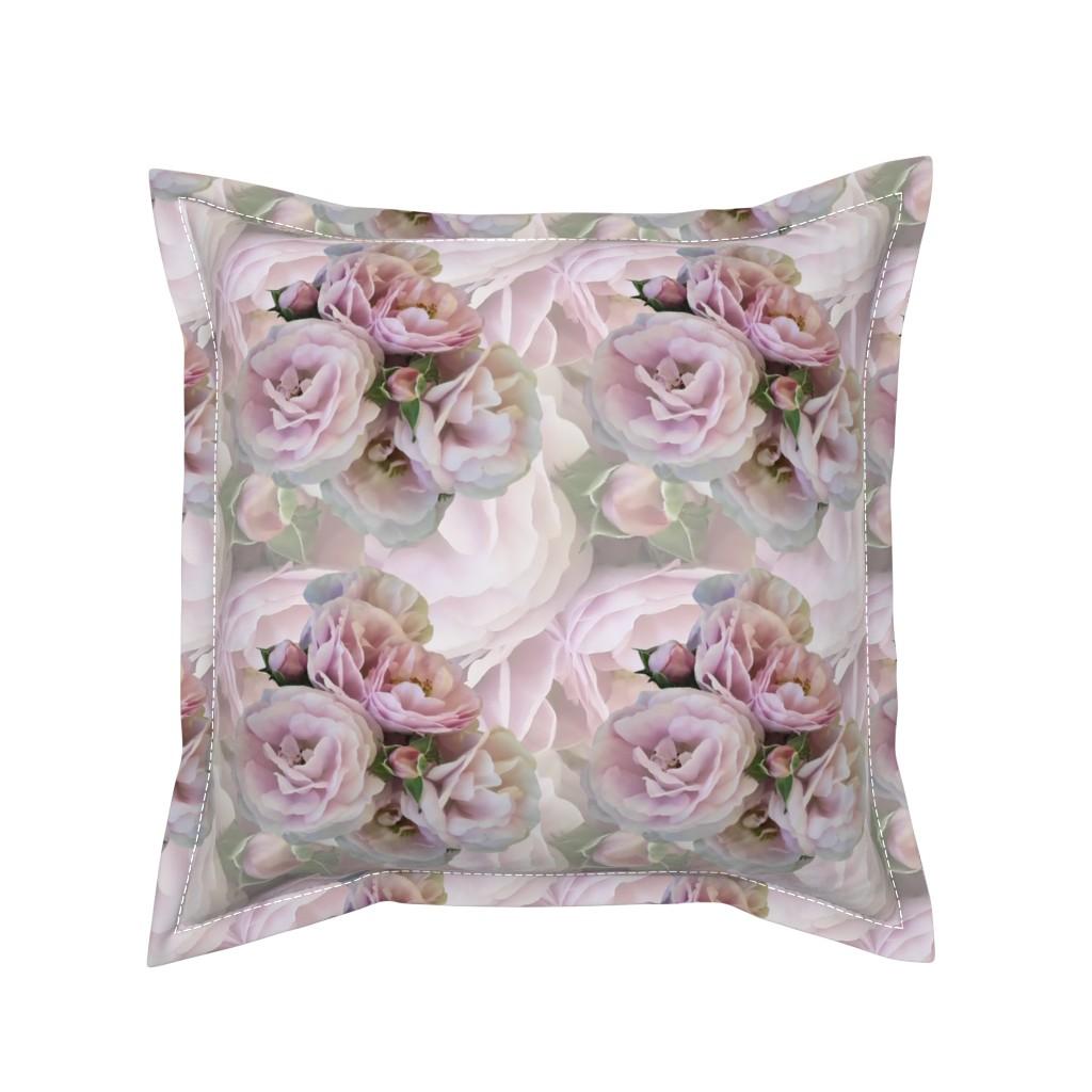 Serama Throw Pillow featuring Misty_Pink_Roses by artonfabric