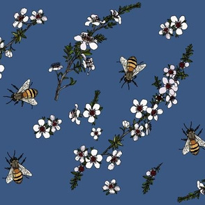 Manuka with bees on blue