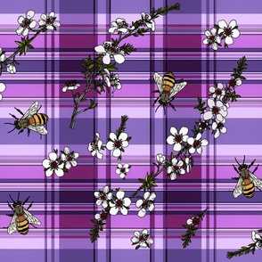 Manuka with bees on purple plaid