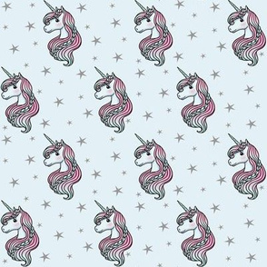 Unicorn - Blue & Grey, Unicorn and Stars - SMALL