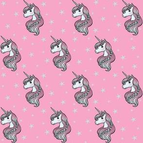 Unicorn - Hot Pink & Teal, Unicorn and Stars - SMALL