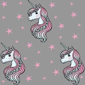 Unicorn - Gray & Hot Pink, Unicorn and Stars - MEDIUM